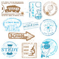 Set of SCHOOL stamps Royalty Free Stock Photo