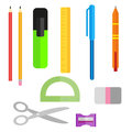 Set of school supplies. Pens pencils scissors and ruler. Pencil sharpener and eraser. Collection of objects in a flat
