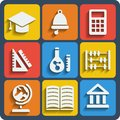 Set of 9 school web and mobile icons. Vector. Royalty Free Stock Photo