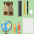 A set of schoolboy, globe, backpack, textbooks, pencils