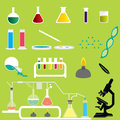 Set of Science Chemicals Research and Experiment Laboratory Vectors and Icons