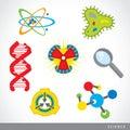 Set of science stuff icon Lab cartoon vector