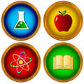 Set scientific subject white background vector illustration Royalty Free Stock Images