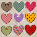 Set of scrapbook heart icons colorful patterned Royalty Free Stock Images