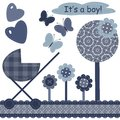 Set with scrapbook object for newborn boy Stock Images