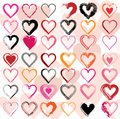 Set of scribble hearts with grungy texture vector illustration Stock Image