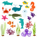 Set of sea animals Royalty Free Stock Images
