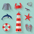 Set of sea and beach flat icons vector illustrati collection design elements illustration Stock Photo