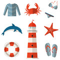 Set of sea and beach flat icons vector illustration collection design elements Royalty Free Stock Photo