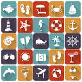 Set of sea and beach flat icons vector illustration holidays seaside resort relaxation collection design elements Royalty Free Stock Photo