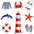 Set of sea and beach icons vector illustration colored collection design elements Royalty Free Stock Photos