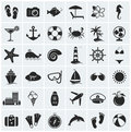 Set of sea and beach icons. Vector illustration. Royalty Free Stock Photo