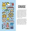 Set of sea cruise cartoon style on blue and white