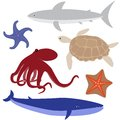 Set of sea life with octopus shark whale turtle and starfish Stock Photo