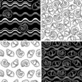 Set of  sea shell seamless ornaments Royalty Free Stock Photography