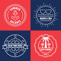 Set of sea and summer nautical signs, badges and labels. Vector Royalty Free Stock Photo