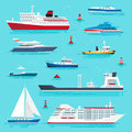 Set of Sea Transport on Blue Water Flat Design
