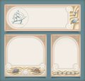 Set sea vintage vacation frame banners labels marine collection retro art deco style backgrounds sailing ship shells sand rope Stock Images