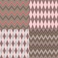 Set of seamless argyle and chevron patterns Stock Photography