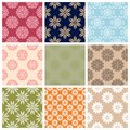 Floral seamless pattern. Colored set with flower elements.