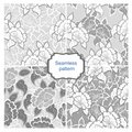 Set of seamless backgrounds with flowers in shades of gray. Royalty Free Stock Photo