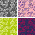 Set of seamless backgrounds with hearts pattern Royalty Free Stock Photo