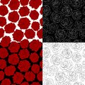A set of seamless backgrounds the outline of a ro rose red black and white colors many similarities to authors profile Stock Photos
