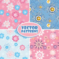 Set of seamless backgrounds pink and blue Royalty Free Stock Photo