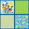Set of seamless backgrounds or wallpapers with floral butterflies birdhouses and geometric patterns Royalty Free Stock Images