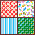 Set seamless backgrounds wallpapers floral butterflies striped patterns Stock Photos