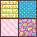Set of seamless backgrounds or wallpapers with floral chicks butterflies and geometric patterns Stock Image
