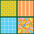 Set of seamless backgrounds or wallpapers with floral plaid striped and butterflies patterns Royalty Free Stock Image