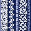 Set of seamless batik borders with bohemian elements.