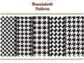 Set of seamless black and white houndstooth vector patterns Royalty Free Stock Photo