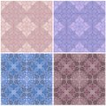 Set of seamless ceramic tiles in blue and beige retro colors with vintage ethnic patterns and floral motifs in the style of a patc Royalty Free Stock Photo