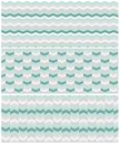 Set of 3 seamless chevron patterns in aqua green colors