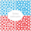 Set of seamless christmas backgrounds collection new year patterns with snowflakes Stock Images