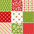 Set of seamless christmas patterns Royalty Free Stock Photo