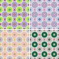 Set of seamless colorful floral pattern background Stock Photos