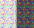 Set of seamless, colorful patterns with musical notes and treble clefs in black and white, vector illustration