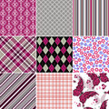 Set seamless colorful vintage pattern Royalty Free Stock Photo