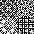 Set seamless damask pattern design wallpaper vector Stock Photography