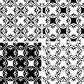 Set seamless decorative pattern black and white Royalty Free Stock Photo