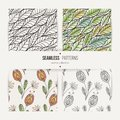 Set of seamless doodle floral and leaves patterns.