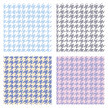 Set of seamless duotone textile patterns. Chekered ornament houndstooth, hounds tooth check, hound`s tooth, dogstooth, dogtooth Royalty Free Stock Photo