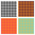 Set of seamless duotone textile patterns. Chekered ornament houndstooth, hounds tooth check, hound`s tooth, dogstooth, dogtooth. Royalty Free Stock Photo