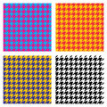 Set of seamless duotone textile patterns. Chekered ornament houndstooth Royalty Free Stock Photo