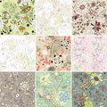 Set of seamless floral background Stock Photo