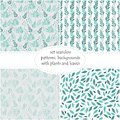 Set of seamless floral backgrounds, patterns of plants, the leaves and branches of leaves Royalty Free Stock Photo