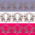 Set of seamless floral borders. Decorative ornament Royalty Free Stock Photo